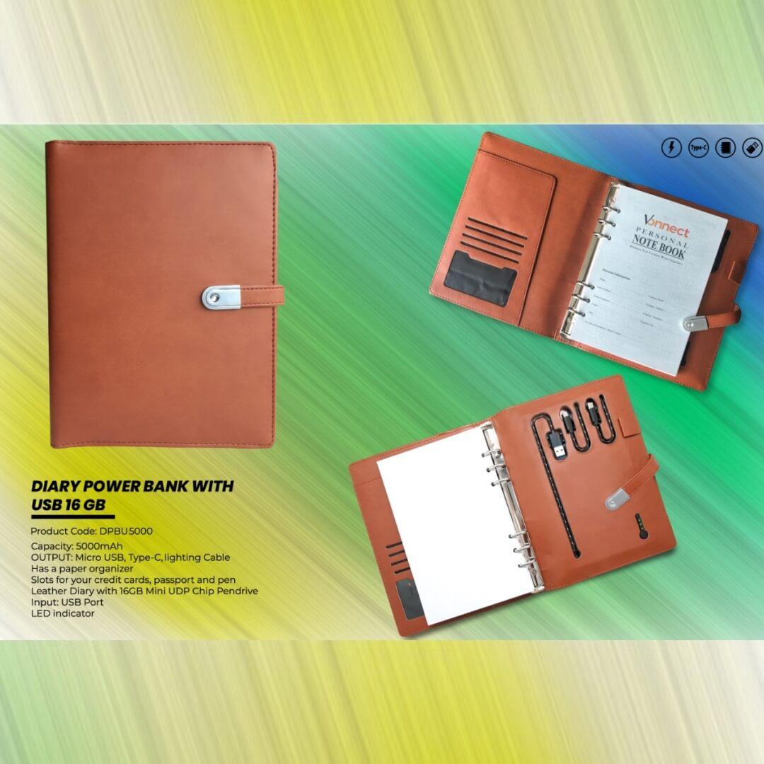 Diary Power Bank 5000mAH with USB 16 GB
