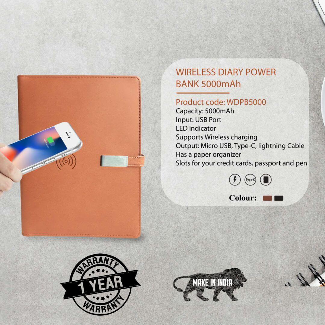 Wireless Diary Power Bank 5000mAH
