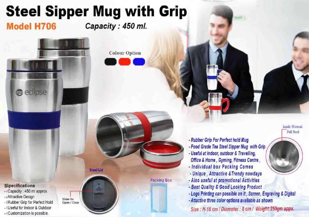 Steel Sipper Mug with Grip 706
