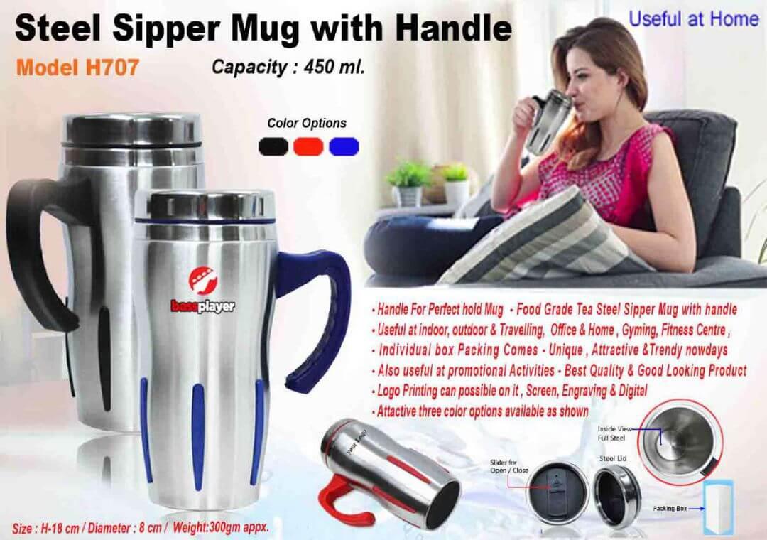 Steel Sipper Mug with Handle 707