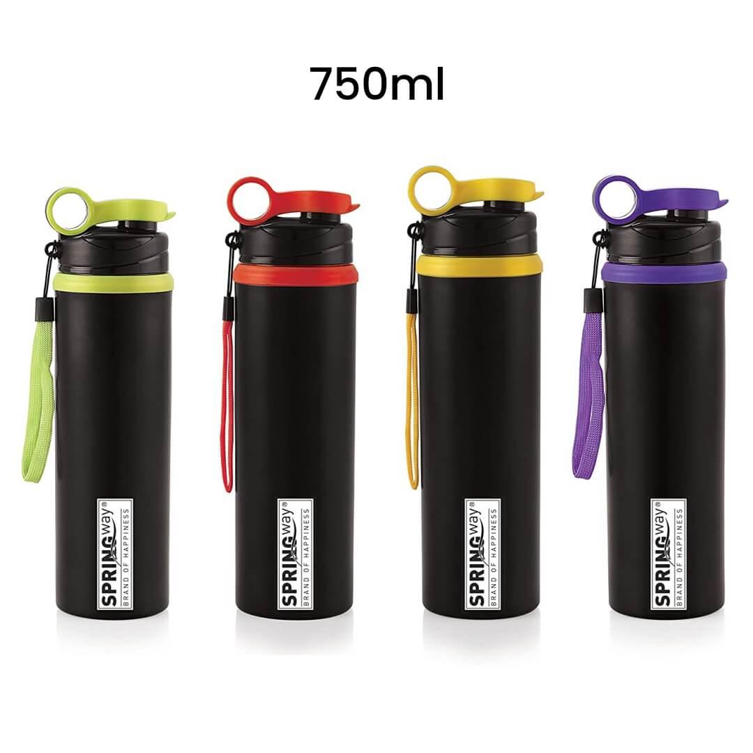 Steel Sports Sipper Water Bottle Black 750ml