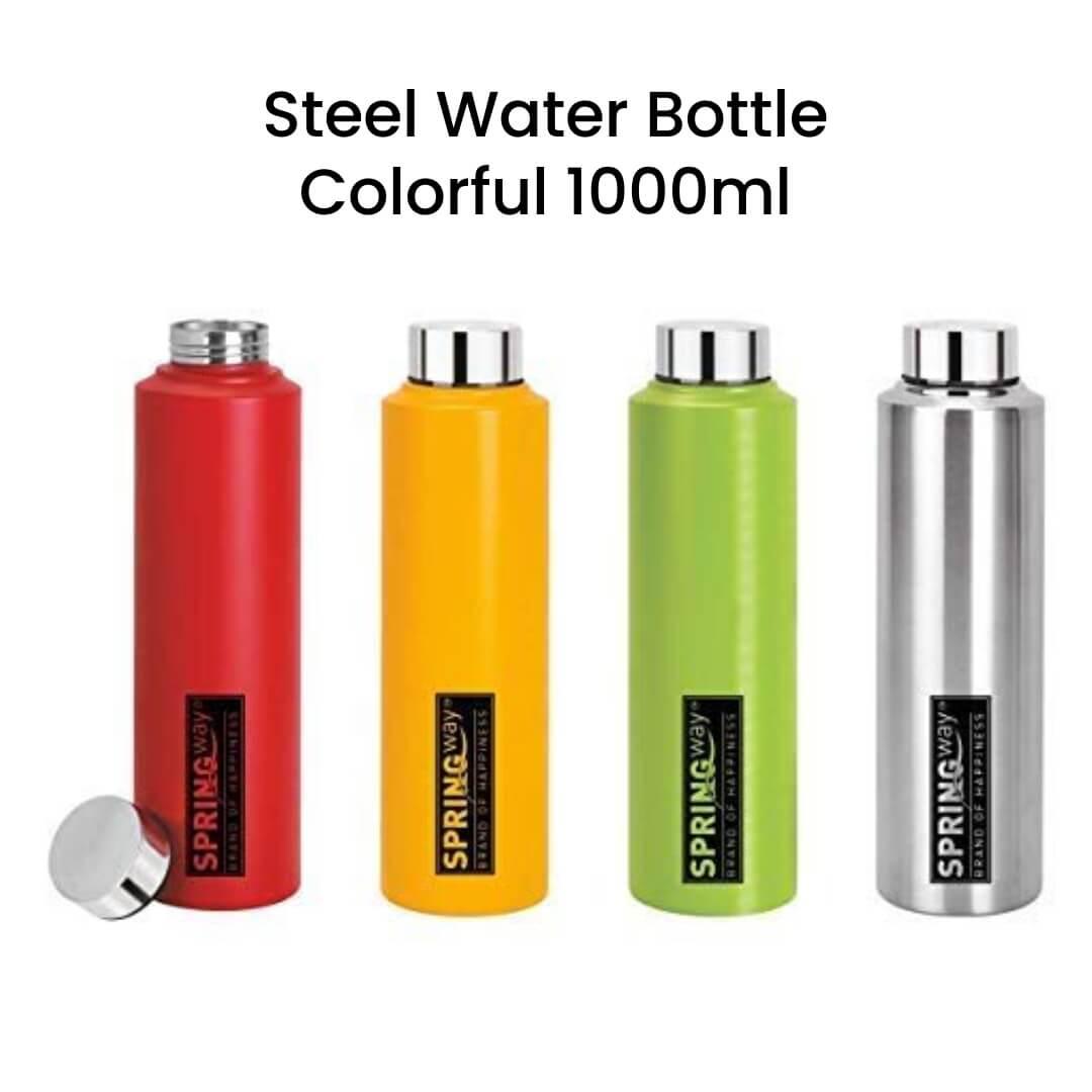 Steel Water Bottle Colorful 1000ml
