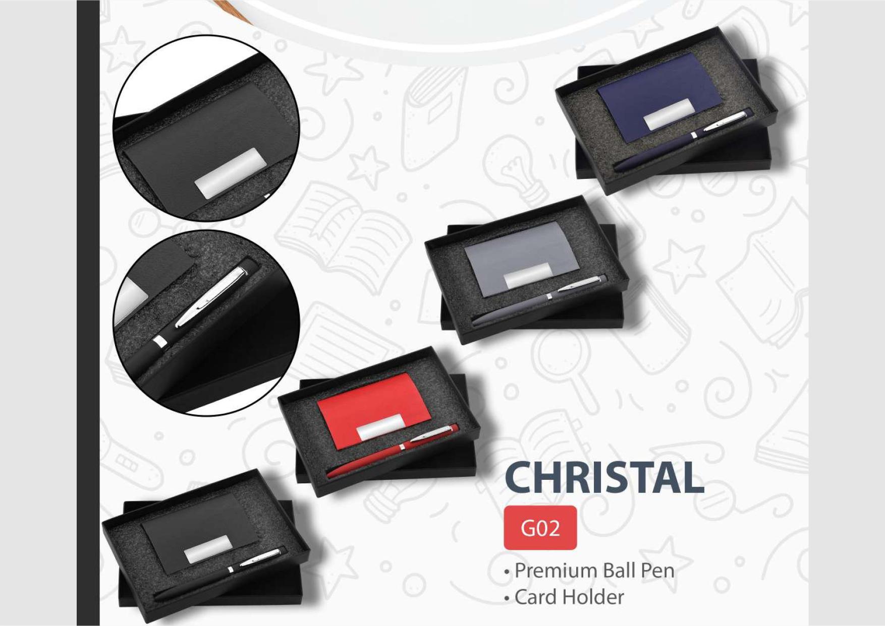 Card Holder and Pen Set Christal