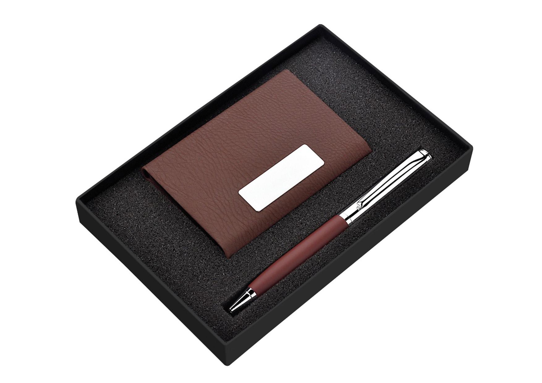 Card Holder Pen Set Brown