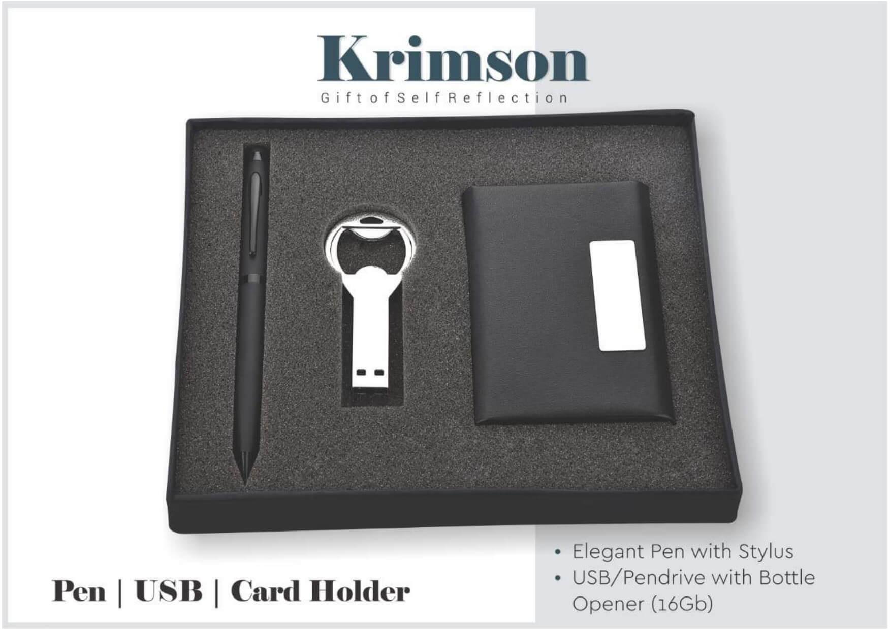 Pen, Pendrive, Card Holder 3 in 1 Gift Set Krimson