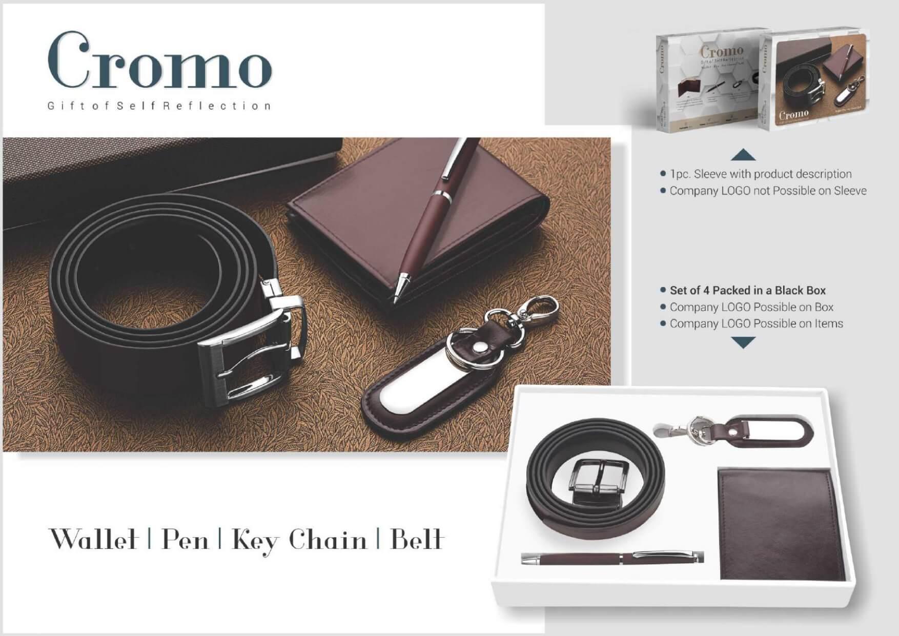 4 in 1 Belt, Wallet, Pen, Keychain Set Cromo