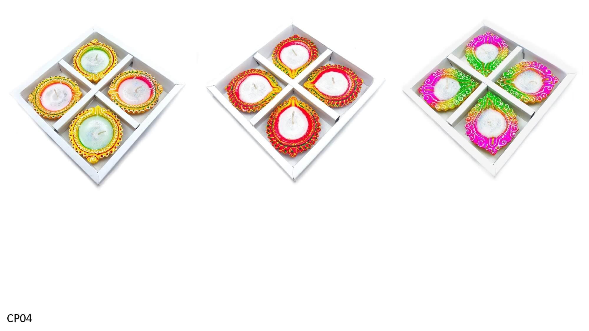 4pcs Diya with wax and box