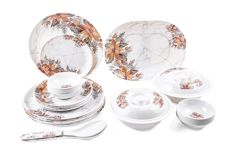 32 pcs Melamine Dinner Set (Marble Amber)